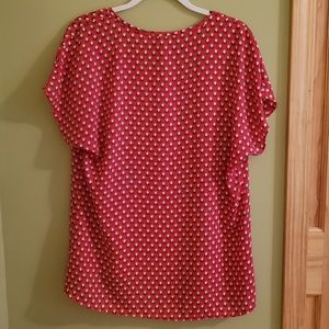 Pleione Tops - Pleione Red Blouse with Blue and White Design